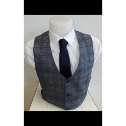 White Label Waistcoat Navy Check