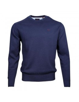 Andre Waffle Effect Round Neck Jumper-Navy