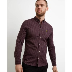 Lyle & Scott Gingham Slim Fit Shirt-Berry/True Black