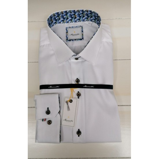 Marnelli Casual Shirt-White w/Collar Detail