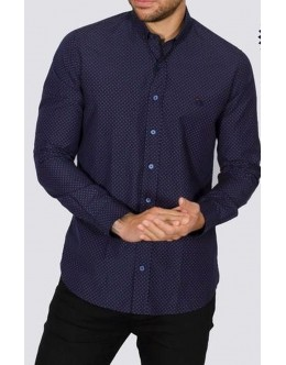Bewley and Ritch Spot Shirt-Navy with Burgundy