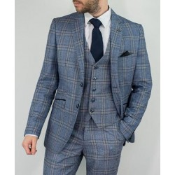 Cavani Check Suit-Blue/Grey