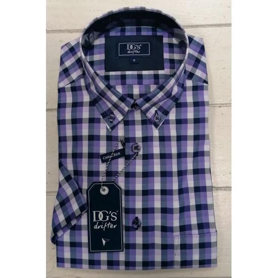 Drifter Short Sleeve Shirt-Purple Small Check