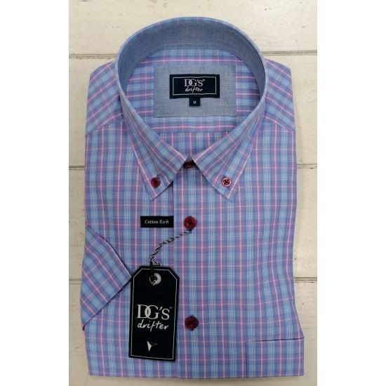 Drifter Short Sleeve Shirt-Light Blue/Pink Check