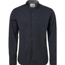 No Excess All Over Printed Stretch Shirt-Shadow Blue