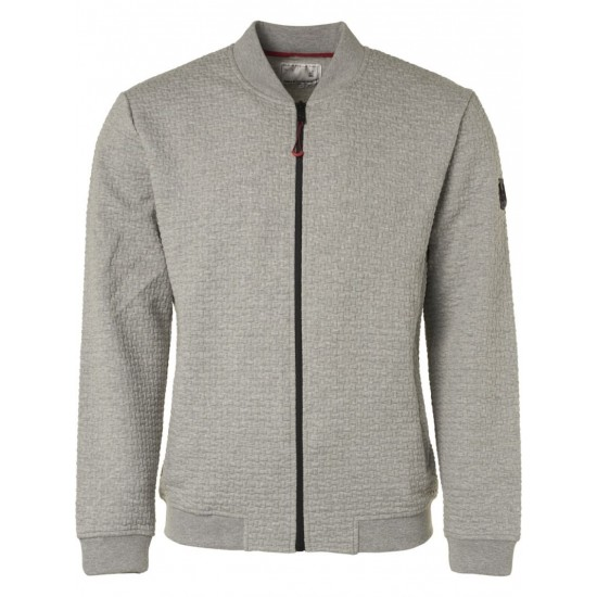 No Excess Full Zip Jacquard Cardigan-Grey Melange