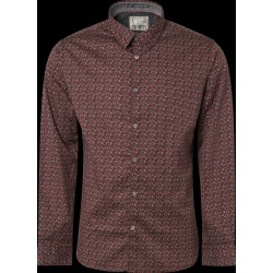 "No Excess Patterned Stretch Shirt-""Brick"""