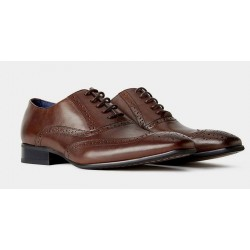 Remus Uomo Leather Brogue-Dark Brown