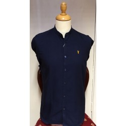 Tom Penn Grandad Collar Shirt-Navy