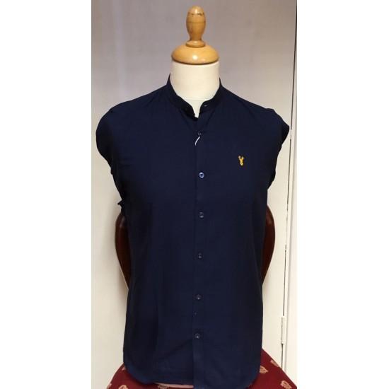 Tom Penn Grandad Collar Shirt-Navy