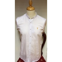 Tom Penn Grandad Collar Shirt-White
