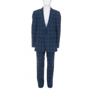1880 Club Chequered 2 Piece Suit-Blue