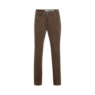 Bugatti 5 Pocket Stampato Cotton Trouser- 86376/160 Dark Beige