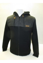 Outrage Noah Quilted Effect Zip Through Colour Black Hoodie