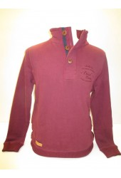 Diesel Brent Half Button Jumper Colour Burgundy 70% Cotton